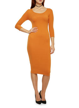 Mid Length Bodycon Dress with Scoop Neck - 1094060589250
