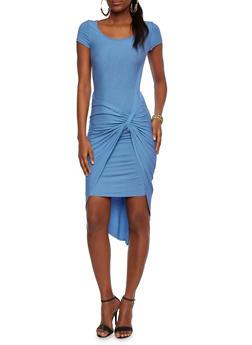 Twist-Knot Midi Dress with Short Sleeves - 1094061639369