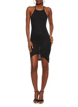 Rib-Knit Racerback Dress with Fixed Wrap Skirt - 1094061639390