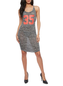 Marled Graphic Mid Length Tank Dress - 1094061639473