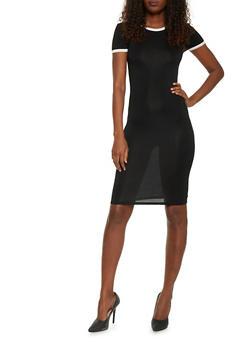 Mid Length Ringer T Shirt Dress - BLACK/WHITE - 1094061639478