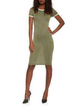 Mid Length Ringer T Shirt Dress - 1094061639478