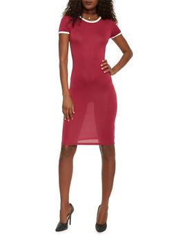 Mid Length Ringer T Shirt Dress - WINE - 1094061639478