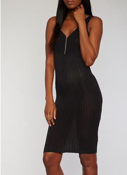 Sleeveless Zip Front Rib Knit Tank Dress - BLACK - 1094061639479