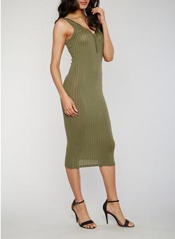 Sleeveless Zip Front Rib Knit Tank Dress - OLIVE - 1094061639479
