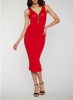 Sleeveless Zip Front Rib Knit Tank Dress - 1094061639479