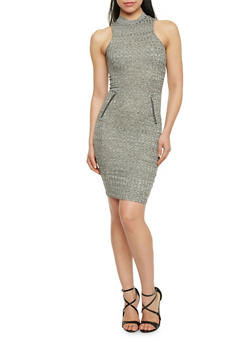 Marled Mock Neck Bodycon Dress with Zip Pockets - 1094061639480