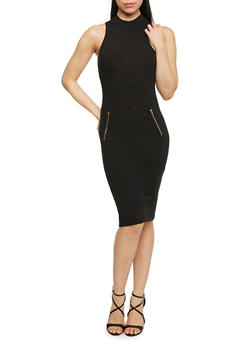 Mock Neck Ribbed Knit Bodycon Dress - BLACK - 1094061639481