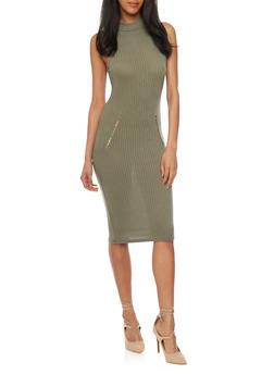 Mock Neck Ribbed Knit Bodycon Dress - 1094061639481