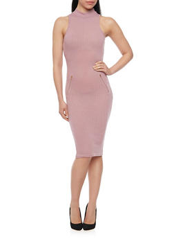Mock Neck Ribbed Knit Bodycon Dress - 1094061639481