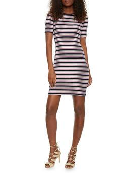 Striped Rib Knit Ringer T Shirt Dress - 1094061639482