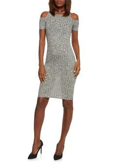 Short Rib Knit Cold Shoulder Bodycon Dress - 1094061639484