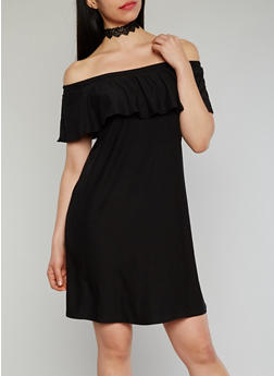 Ruffled Off the Shoulder Shift Dress - BLACK - 1094061639488