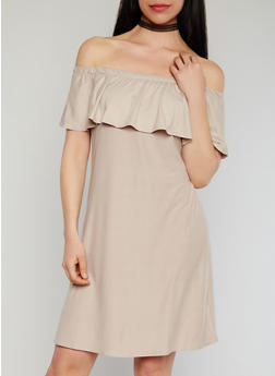 Ruffled Off the Shoulder Shift Dress - 1094061639488