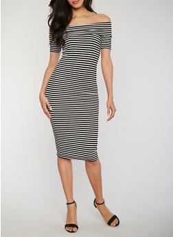 Striped Off the Shoulder Rib Knit Dress - 1094061639490