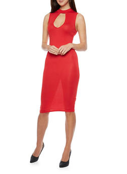 Sleeveless Cutout Neckline Bodycon Dress - 1094061639493