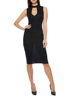 Mid Length Ribbed Knit Keyhole Neck Bodycon Dress - BLACK - 1094061639494