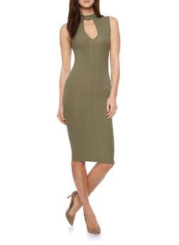 Mid Length Ribbed Knit Keyhole Neck Bodycon Dress - 1094061639494