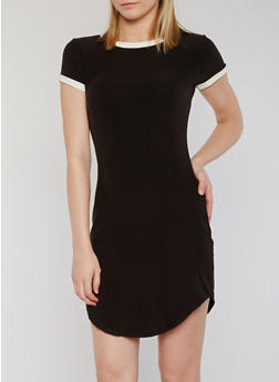 Short Sleeves Contrast Trim T Shirt Dress - 1094061639496