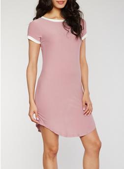 Short Sleeves Contrast Trim T Shirt Dress - 1094061639496