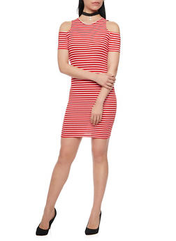 Mini Striped Cold Shoulder Dress - 1094061639497