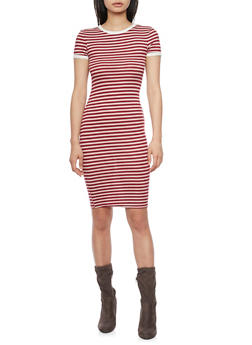 Striped Short Sleeve T - Shirt Dress - 1094061639498