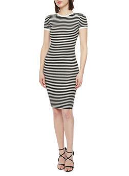 Striped Short Sleeve T Shirt Dress - 1094061639498