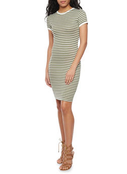 Striped Short Sleeve T - Shirt Dress - OLIVE - 1094061639498