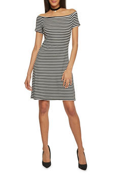 Rib Knit Striped Off The Shoulder T Shirt Dress - 1094061639500