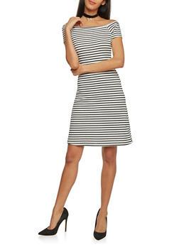 Rib Knit Striped Off The Shoulder T Shirt Dress - WHT-BLK - 1094061639500