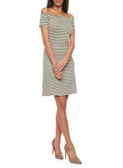 Rib Knit Striped Off The Shoulder T Shirt Dress - 1094061639500