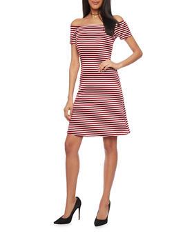 Rib Knit Striped Off The Shoulder T Shirt Dress - WINE - 1094061639500