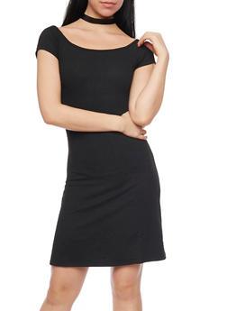 Rib Knit T Shirt Dress - BLACK - 1094061639501