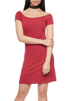 Rib Knit T Shirt Dress - BURGUNDY - 1094061639501