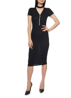 Mid Length Rib Knit Choker Neck Bodycon Dress - BLACK - 1094061639506