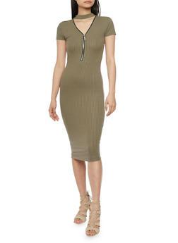Mid Length Rib Knit Choker Neck Bodycon Dress - OLIVE - 1094061639506