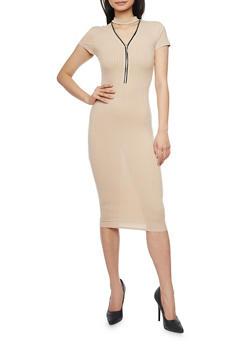 Mid Length Rib Knit Choker Neck Bodycon Dress - 1094061639506