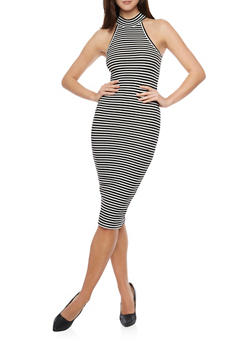 Striped Rib Knit Bodycon Midi Dress - 1094061639507