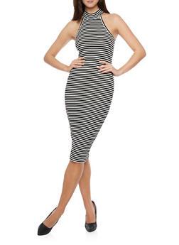 Striped Rib Knit Bodycon Midi Dress - BLACK/WHITE - 1094061639507