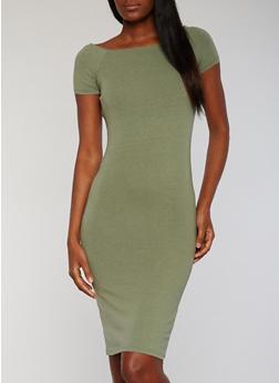 Solid Square Neck Short Sleeve Midi Dress - OLIVE - 1094061639509
