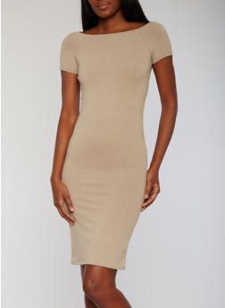 Solid Square Neck Short Sleeve Midi Dress - 1094061639509