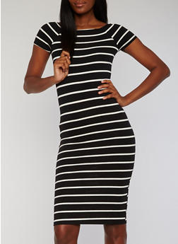 Striped Short Sleeve Midi T Shirt Dress - 1094061639510