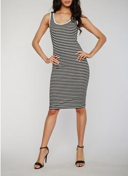 Mid Length Striped Scoop Neck Tank Dress - 1094061639513