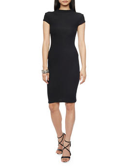 Mock Neck Midi Dress with Cap Sleeves - BLACK - 1094061639514