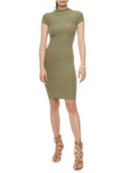Mock Neck Midi Dress with Cap Sleeves - OLIVE - 1094061639514