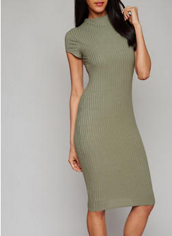Ribbed Short Sleeve Midi Dress - OLIVE - 1094061639515