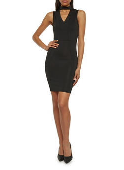 Keyhole Mini Dress with Choker - BLACK - 1094061639517