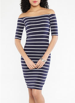 Striped Off the Shoulder Bodycon Dress - 1094061639562