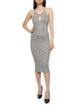 Marled Rib Knit Mid Length Bodycon Dress with Keyhole - 1094061639586