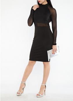 Mesh Detail Mock Neck Bodycon Dress - 1094061639602